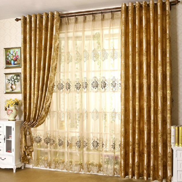 custom embroiderey sheer bedroom curtain 2015 new design