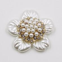 2015 new product white 54mm rhinestone acrylic flower hair pearl jewelry P02830