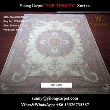 china 280x370cm handknotted nanyang white wool Kerman silk carpet