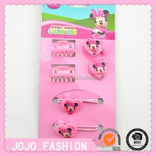 Plastic kids hair claw mickey hair bands girls elastic accessories set