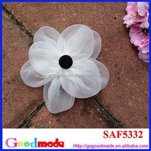 handmade big wihte fabric organza flower brooch for wedding or as hair accessories