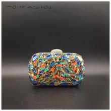 2015 Factory more popular swarovski crystal glass stones evening bag