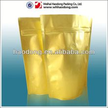 Shinning Yellow Ziplock Tear Notch Bags With Standing up Package