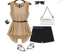 European Style Spring&Summer All-match Chiffon Slim Dress Sleeveless Tops Fashion