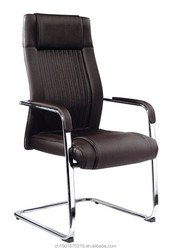 high quality polished chrome frame leather & mesh meeting chair 8031D
