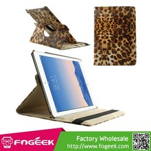 Made in China 360-degree Rotary Leopard Skin Stand Leather Case for iPad Air 2 w/ Elastic Band