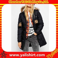 Custom top quality black blank smooth nylon/polyester extended puffer design fitness winter womens overcoats