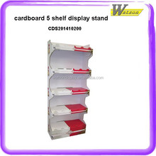 strong promotion and chain store 5 tiers paper cardboard display shelf for wind up toys