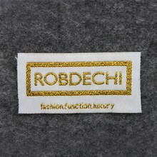 China made High Quality custom white golden theard shoes label