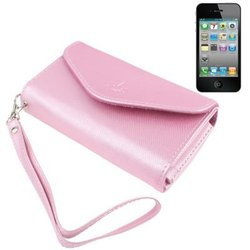 Mobile Phone PU Case / Carry Bag for iPhone 4 & 4S , Size: 13.5 x 7.5 x 3cm (Pink)