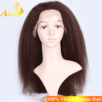 Premium Coarse Yaki Full Lace Wig Cheap Full Lace Wig With Clips 34 Inch Indian Hair Full Lace Wig