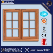 USA style/ double safety glass/aluminium skin/oak solid wooden windows
