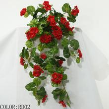 wall hanging artificial silk geranium Flowers factory cheap wholesale artificial silk flower for home decor