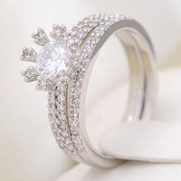 Latest Design CZ Micro Pave Sterling Silver Jewelry Set Rings Wedding Ring Anniversary Band Sets