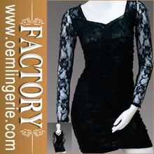 seductor de manga larga vestido de encaje negro