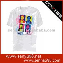 2013 fashion v-neck mens plain white t-shirts