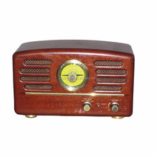 Home Audio Antique Retro Wooden Vintage Classical AM/FM Two Way Radio Receiver with 2 speakers
