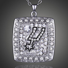 Top Quality Men Jewelry American Professional Basketball Spurs Team Championship Accessoriess Silver Necklace