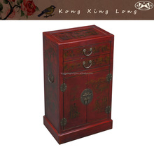 Vintage Antique Furniture Red Hand Painted Wine Bar Cabinet, Storage Cabinet with 1 Drawer