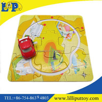 Promotion toy wind up car with paper puzzle track