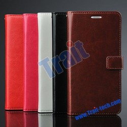 Crazy Horse Card Slots Flip Stand PU Leather Case for Xiaomi Note with Strap