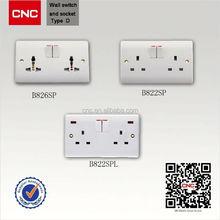 UK market wall socket double USB port square socket wrench