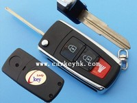 Good quality Proton Exora 2+1 3 button folding flip remote car key case shell blank cover fob