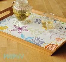 """Bamboo tray with silk-print cork bottom, """"Garden"""""""
