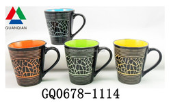 11oz fashionable coffee mug ceramics with silk-screen print and handle cheap sale