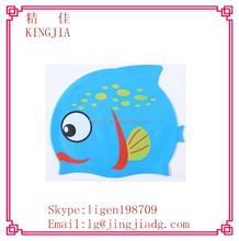 Children Kids Silicone Swim Swimming Cute Cap Hat Waterproof Fish Shark