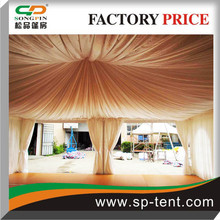 White Or Beige or Other customzied Color Pleated Satin Roof Ceilings and Side curtains For Big Wedding Pagoda Gazebo Marquee