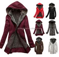 OEM Wholesale Cheap New Women's Lady Clothes Thicken Winter Warm Jacket Coat Hooded Fleece Outerwear