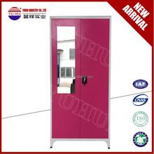 India style steel wardrobe almirah with mirror / double door clothes locker for bedroom