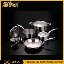 Stainless steel die cast aluminum cookware set/casserole/frying pan