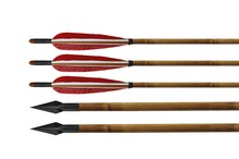 archery bamboo arrow for recurve bow with real feather for sale