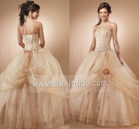 S048 Strapless Ball Gown Floor-Length Man-Made Flower Ornaments for Prom Dresses