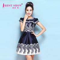 High Fashion Womens Clothing 2015 European Style Puff Sleeve o-Neck Flower Print Lady Dress Woman Modern Short Dresses 1562