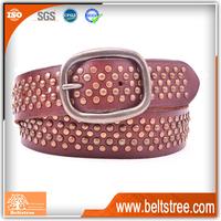 Studded Coffee Genuine Leather Belt Manufacturer Woman Belt