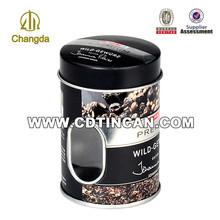 Prix d'usine ronde métal café tin can avec fenêtre