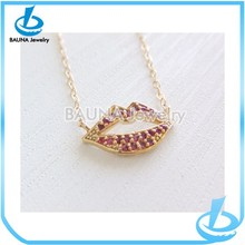 14K gold filled red ruby kiss lip necklace