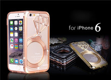 24K gold diamond luxury jewelry case for iphone 6 6s back cover