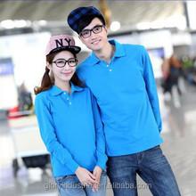 New design couple long sleeve pique polo shirt
