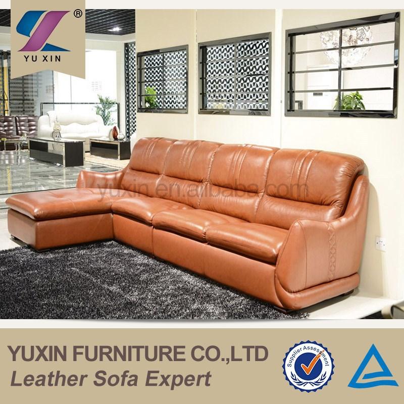Costco Top Grain Cheers Leather Sofa Furniture Orange Pvc