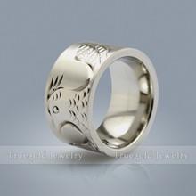 2015 New Design Engraving Bird Titanium Ring Men Stainless Steel Ring Wedding Rings Engagement Band For Women