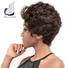 Wholesale various color fashionable style short curly human hair wigs white women