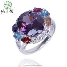 OEM China Manufacturer Smooth Colorful 925 sterling Silver Cluster Ring