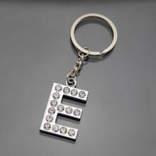 cheap stock sell metal engraved name E shaped keychain custom metal keychain