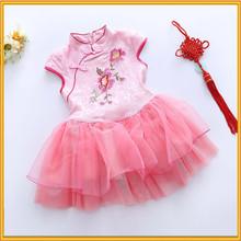 Hot sale embroidered children dress frock design cotton girls pink frocks designs