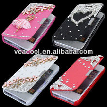 Deluxe Flip Style Leather Magnetic Hard Case Cover For iPhone 4G 4S Heart Bling