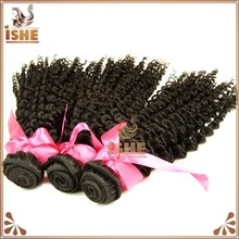 2015 ISHE Hair new Style afro kinky human hair weave 100% virgin Mongolian kinky curly hair